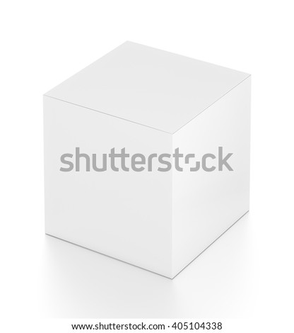White cube blank box from top far side angle. 3D illustration isolated on white background. - stock photo