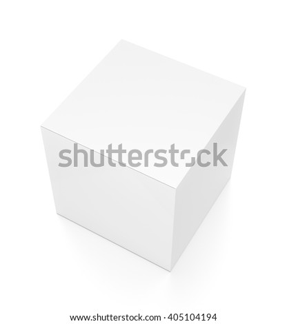 White cube blank box from top side angle. 3D illustration isolated on white background. - stock photo