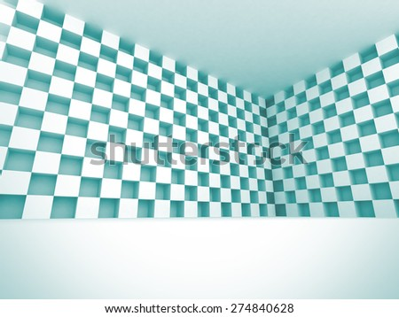 White Cube Design Interior Background. 3d Render Illustration - stock photo