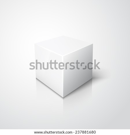 White cube on white background with reflection and shadow - stock photo