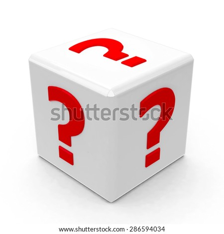 White cube with questions on a white table - isolated on white, three-dimensional rendering