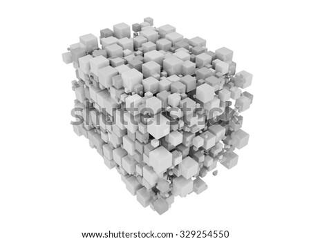 White cubes 3D. Isolated on white background. Futuristic background. - stock photo