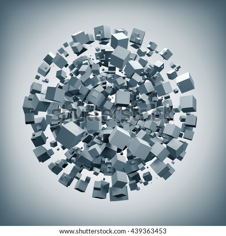 White cubes explosion forming sphere shape 3D rendering background. Abstract 3D ball of white boxes.
