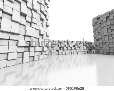 White cubes wall 3d background. 3d render illustration - stock photo