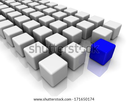 White cubes with blue in the center on a white background