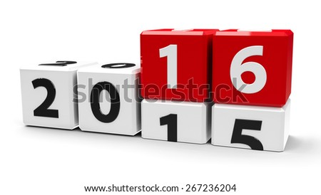 White cubes with 2015-2016 change on a white table represents the new 2016, three-dimensional rendering - stock photo