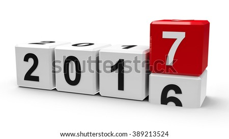 White cubes with 2016-2017 change on a white table represents the new 2017, three-dimensional rendering - stock photo
