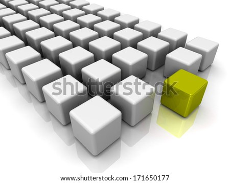 White cubes with gold in the center on a white background