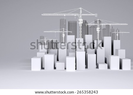 White cubes with wire-frame buildings and tower cranes on gray background. Concept of urban construction