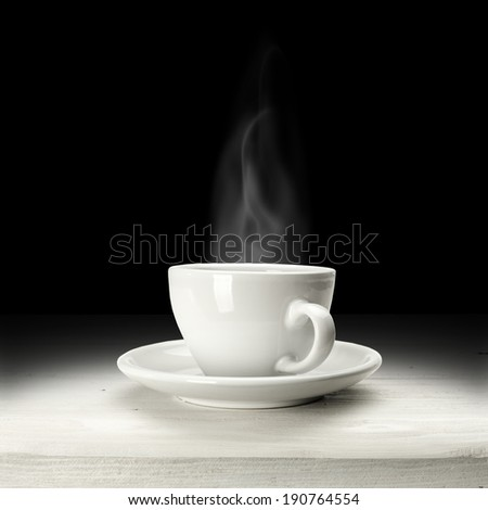 white cup and black space  - stock photo