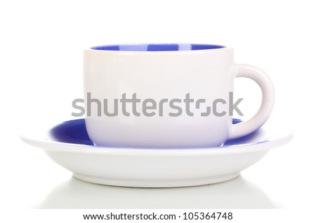 White cup and saucer isolated on white - stock photo