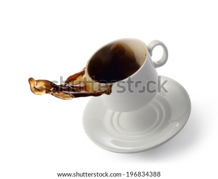 white cup and saucer with a splash on white background - stock photo