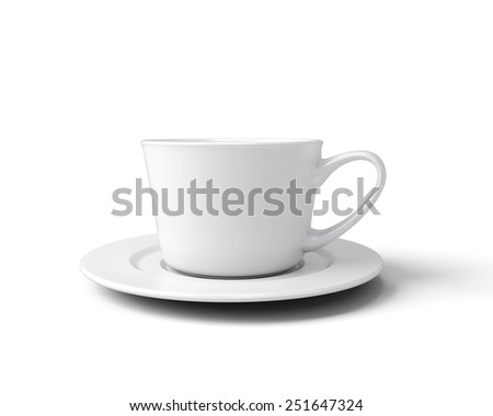 White cup for coffee isolated on white background. 3d illustration. - stock photo