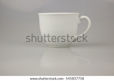 white cup for coffee or tea on isolate white background.