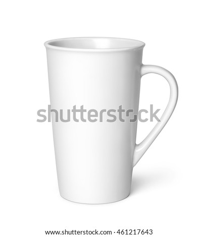 White cup isolated on a white background. Clipping path included