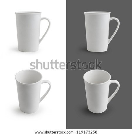 White cup isolated on white and grey background