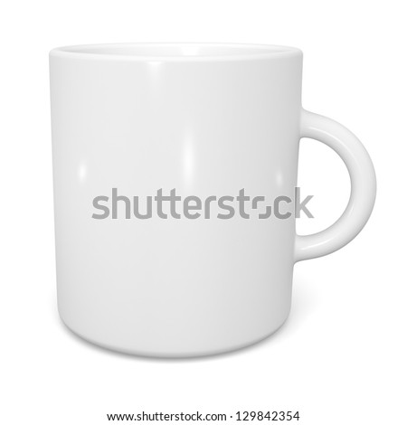 White cup isolated on white background