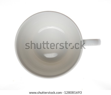 White cup isolated on white background pictured from top