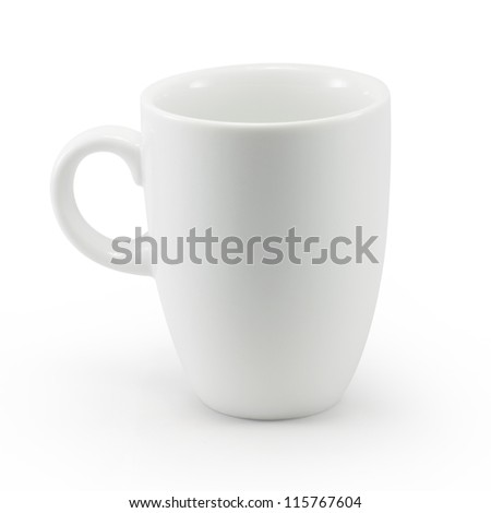 White cup isolated with clipping path - stock photo