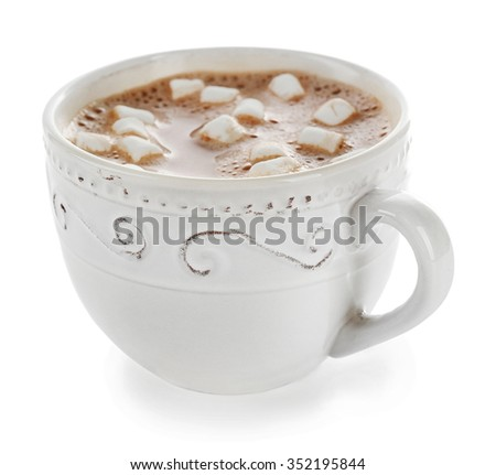 White cup of cacao with zephyr, isolated on white