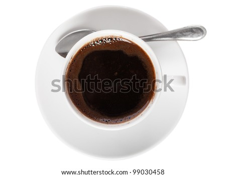 White cup of coffee and spoon isolated over white background