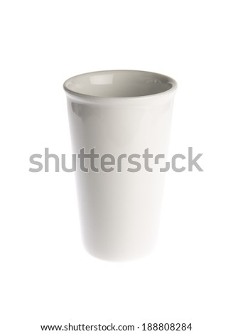 White cup of coffee isolated on white