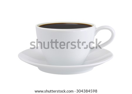 white cup of coffee isolated on white background - stock photo