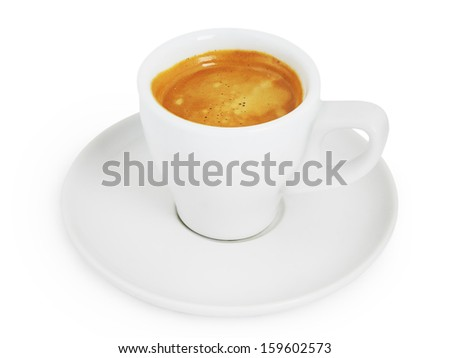White cup of coffee isolated on white with clipping path