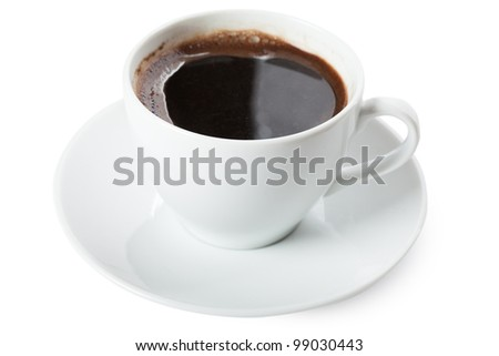 White cup of coffee isolated over white background