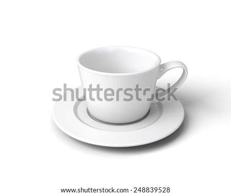 White cup of coffee on a saucer isolated on a white background. 3d render image. - stock photo