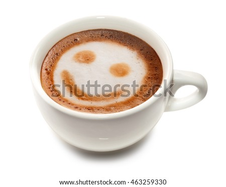 White cup of coffee on a white background.