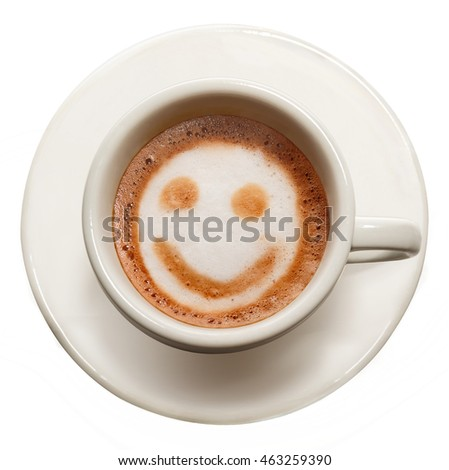 White cup of coffee on a white background.Isolated image.