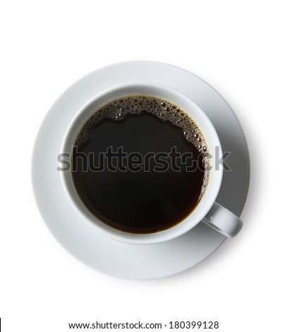 White cup of coffee on saucer with white background