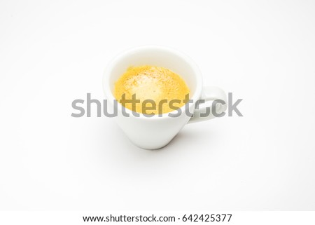 white cup of coffee on white background with shadow
