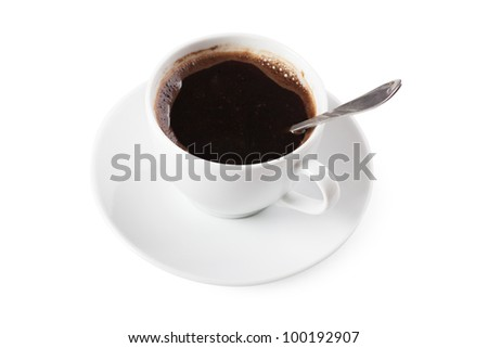 White cup of coffee with spoon over white background