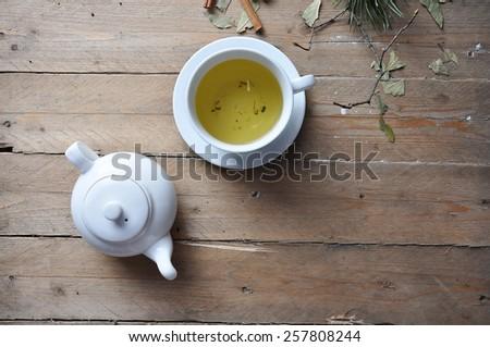 white cup of english breakfast tea - stock photo