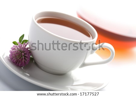 white cup of herbal tea, teapot and clover flowers isolated - stock photo
