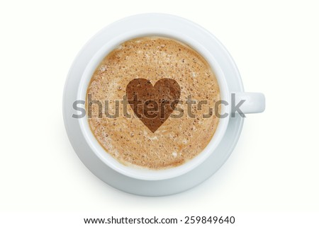 White cup of latte with heart on its froth isolated