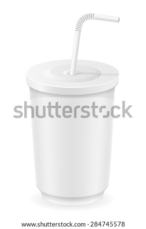 white cup of soda water illustration isolated on background