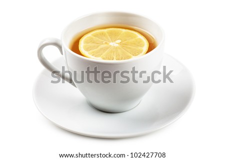 White cup of tea with lemon on a white plate isolated over white background - stock photo