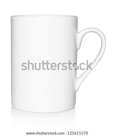 White cup on white background - stock photo
