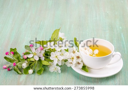 white cup, saucer white, apple blossom, cherry blossom, mint, on turquoise background - stock photo