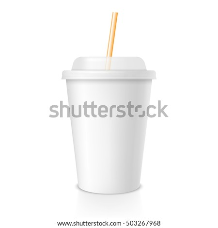 White cup template for soda or cold beverage with yellow drinking straw, isolated on white background. Packaging collection