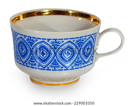 White cup with a blue pattern isolated on a white background