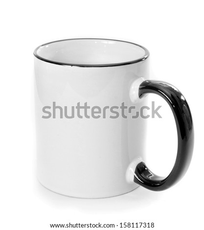 white cup with black handle and strip isolated on a white background