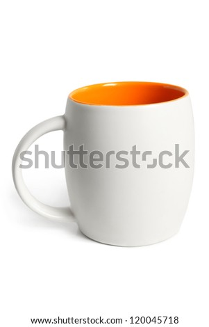 White cup with orange inside on a white background - stock photo