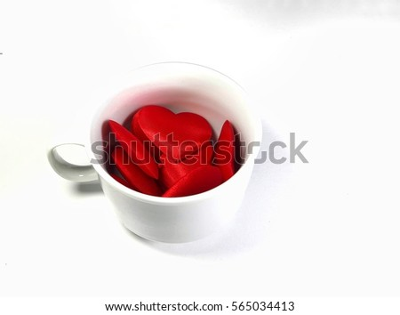 White cup with red heart love isolated on white background. Copy space