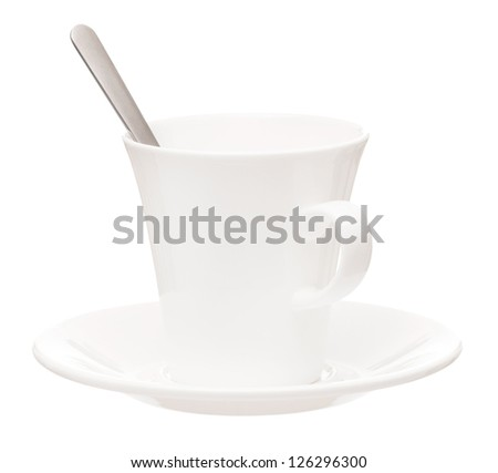 White cup with saucer and spoon isolated on white background