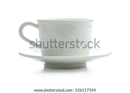 White cup with saucer isolated on white background.