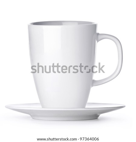 White cup with seucer isolated on white background